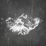 Vector illustration of mountains in hand drawn sketch style. Template for card poster banner and flyer with wintage texture Royalty Free Stock Photos