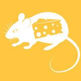 Vector illustration of mouse on orange background Royalty Free Stock Photo