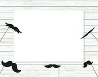 Vector illustration of moustache on stick on shabby wooden background vector illustration