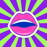 Vector illustration of a mouth. Cartoon style female lips on a colorful background. 80s-90s style vector illustration of a mouth with a smile Stock Photos