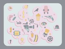 Vector illustration with movie elements, patel colors royalty free illustration
