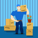 Vector illustration of a moving service guy loader, porter, heaver Stock Photo