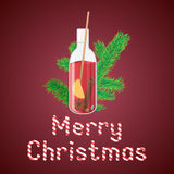 Vector illustration of mulled wine in a bottle with Christmas gr. Eeting sweets text vector illustration