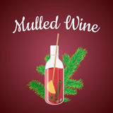 Vector illustration of mulled wine in a bottle with Christmas. Tree branch vector illustration