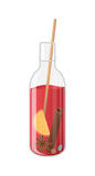 Vector illustration of mulled wine in a bottle. On white vector illustration