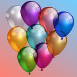 Vector illustration of multi-color air balloons in the sky Royalty Free Stock Image