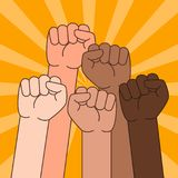Multi Ethnic People With Raised Fist Illustration. A vector illustration of Multi Ethnic People With Raised Fist Royalty Free Stock Photography