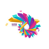 Vector illustration of multicolored geometric rectangles in rounded 3d shape Royalty Free Stock Image