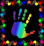Vector illustration with multicolored handprints border and big. Bright rainbow vector illustration with multicolored handprints border and big palm print in Royalty Free Stock Photo