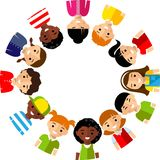 Vector illustration of multicultural children. Set of international boys and girls icons Royalty Free Stock Image