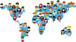 Vector illustration multicultural national children on map earth. Set of international people in traditional costumes on the map world Stock Photos