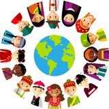 Vector illustration of multicultural national children, people on planet earth Royalty Free Stock Images