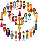 Vector illustration of multicultural national children, people on planet earth. Set of international people in traditional costumes around the world Stock Photography