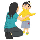 Vector Illustration Of Mum Helping Daughter Wearin Royalty Free Stock Images