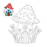 Vector illustration of the mushroom house for coloring book. Simple educational game for kids. Vector illustration of the fairytale mushroom house for coloring stock illustration