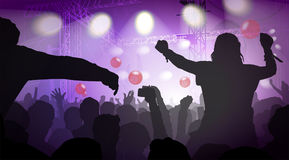 Vector Illustration Of Music Concert With Audience Royalty Free Stock Image