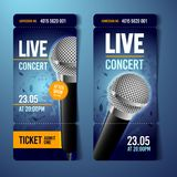 Vector illustration music concert event ticket design template with cool microphone and vintage effects. Vector illustration music concert event ticket design vector illustration