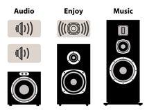 Audio equipment with volume symbol. Speaker and speaker driver. Vector illustration of music device for audio experience vector illustration