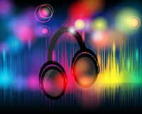 Music background with glittering rainbow lights Royalty Free Stock Photo