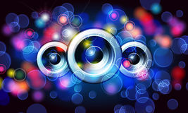 Music background with glittering rainbow lights Stock Image