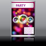 Music flyer with glittering rainbow lights Stock Images