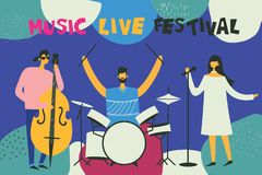 Vector illustration of music festival poster Royalty Free Stock Images