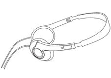 Vector illustration of music headphones. Stock Images