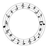 Vector illustration music notes round logo Stock Images