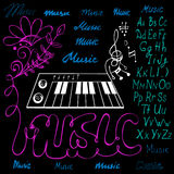 Vector illustration of music symbols alphabet Stock Photos