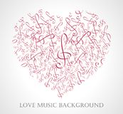 Vector illustration of musical heart with notes and music signs vector illustration