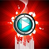 Vector illustration for musical theme. With play button Royalty Free Stock Photos