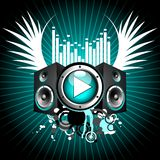 Vector illustration for musical theme. With play button and speakers Stock Images