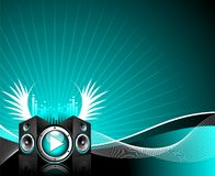 Vector illustration for musical theme. With play button and speakers Stock Photos