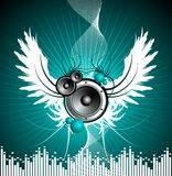 Vector illustration for musical theme. With speakers and wing Stock Photos