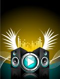 Vector illustration for musical theme. With speakers and wing Stock Photography