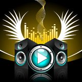 Vector illustration for musical theme. With speakers and play button Royalty Free Stock Photography