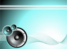 Vector illustration for musical theme with speaker. On blue background Royalty Free Stock Photo