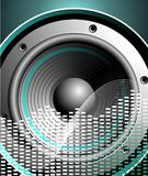 Vector illustration for musical theme with speaker. On blue background Stock Photography
