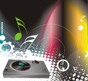Vector illustration on a musical theme with turnta Royalty Free Stock Images