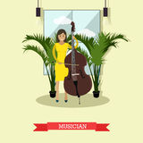 Vector illustration of musician playing contrabass in flat style Royalty Free Stock Images