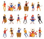 Vector illustration of musicians in a flat style Royalty Free Stock Image