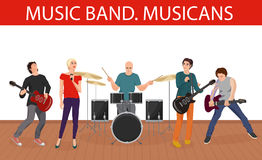Vector illustration of musicians music band. Young rock group. Stock Images