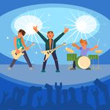 Rock band concert vector flat illustration. Vector illustration of musicians playing guitars and drum on concert stage illuminated with spotlights. Rock band Royalty Free Stock Photo