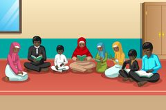 Muslim African Family Studying Quran Together royalty free illustration