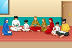 Muslim Family Studying Quran and Praying at Home vector illustration