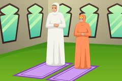 Muslim Mother and Daughter Praying Illustration stock photography