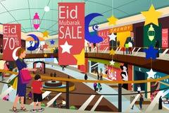 Muslim People Shopping During Ramadan Eid-Al-Fitr Sale Illustrat Stock Image