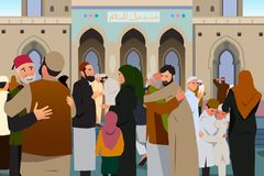 Muslims Embracing Each Other After Prayer in Mosque Illustration Royalty Free Stock Photos