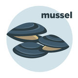 Vector illustration mussel. Seafood icon. Stock Images