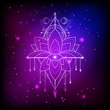 Vector illustration of mystic symbol Lotus on abstract background. Geometric sign drawn in lines. Blue and pink color. For you design and magic craft royalty free illustration